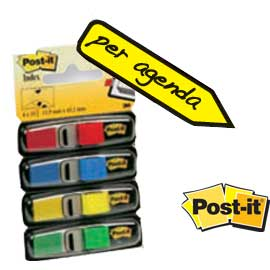 Miniset 140 segnapagina post-it index 683-4 in 4 colori classici 12x43.6mm